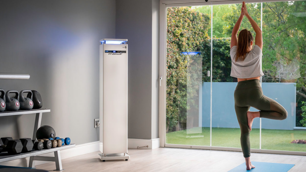 woman yoga air purifier